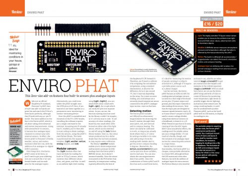 A review of the Pimoroni Enviro pHAT in The Official Projects Book volume 3