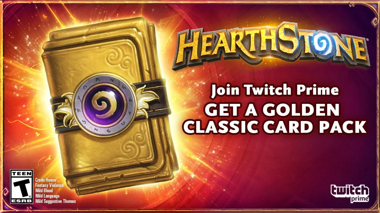 Twitch Prime members, get a Golden Classic Card pack in Hearthstone