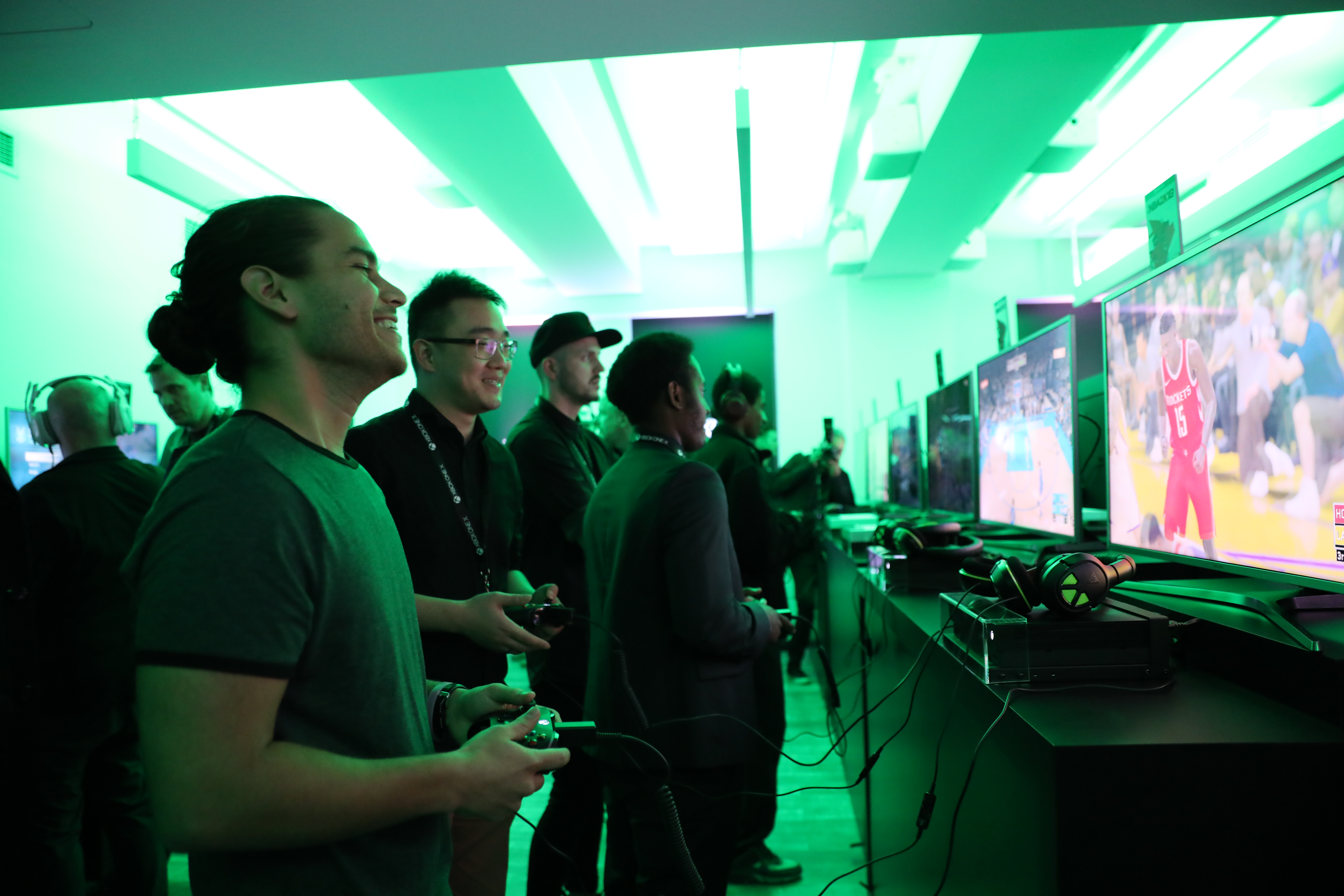 Xbox gamers at Xbox One X launch