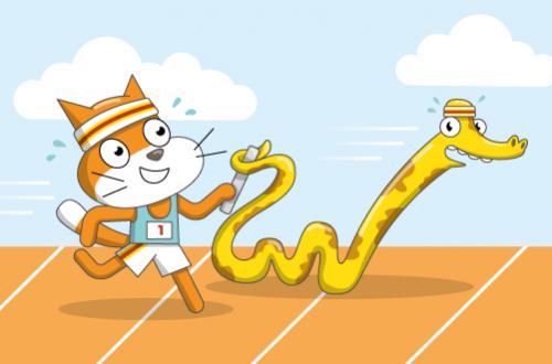 Scratch Cat and a Python supervising teachers at an outdoor bootcamp