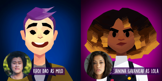 Shows the voice actor and actress for the two main characters in the video game, Afterparty