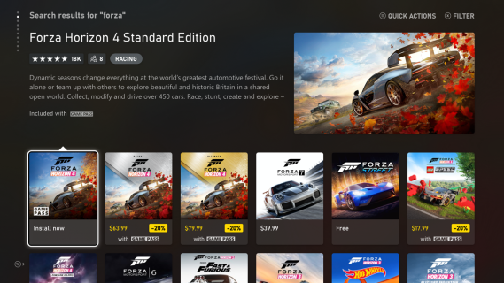 Microsoft Store Gallery View