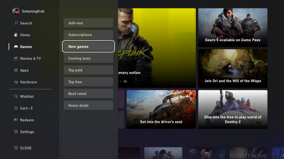 Microsoft Store Expanded Navigation