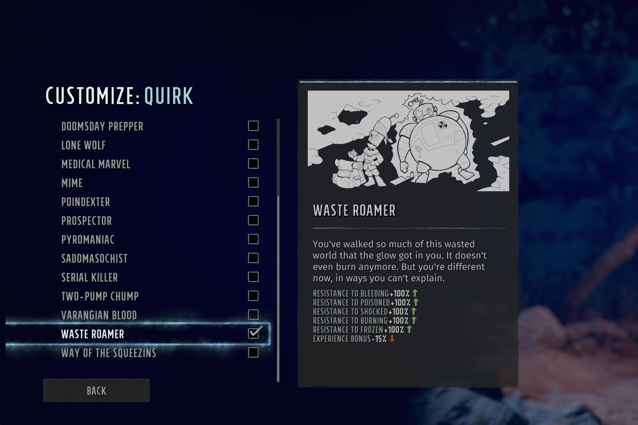 Wasteland 3 character customization screen