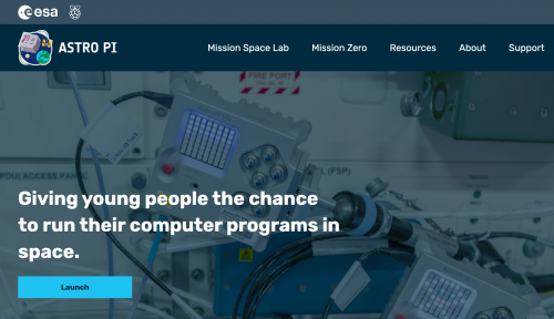 screenshot of Astro Pi home page