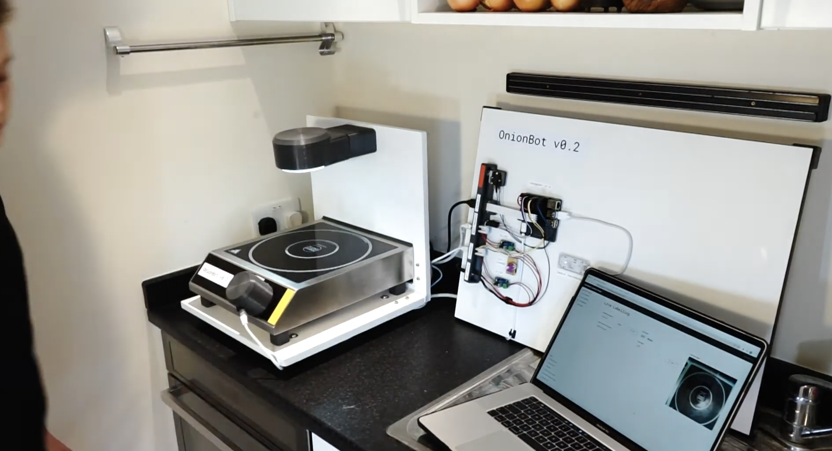 OnionBot robotic sous-chef set up in a kitchen