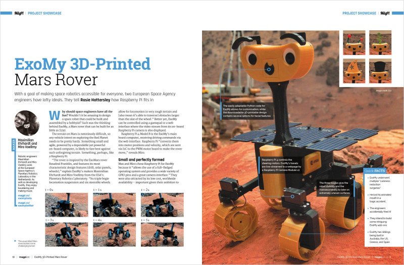 The ExoMy Mars Rover is just one of many amazing projects in The MagPi #100