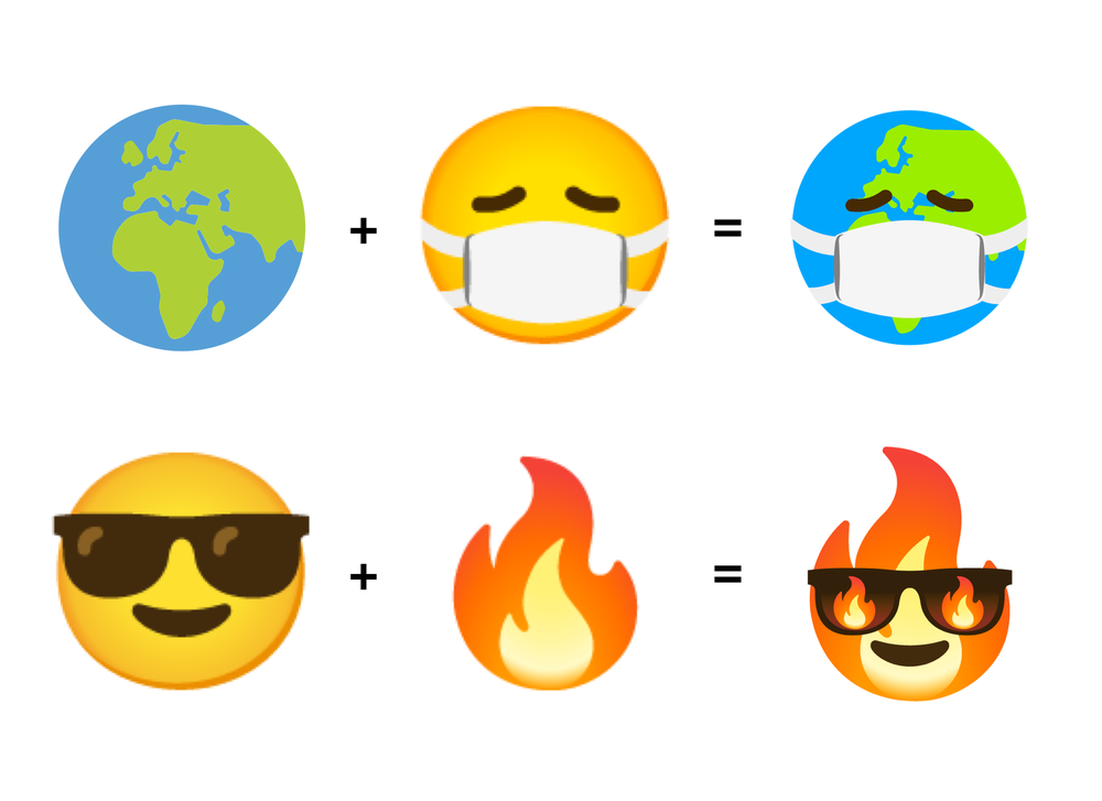 """alt=""""A Combine Earth emoji mixed with a Face with Medical Mask emoji creates an emoji kitchen sticker of an earth wearing a mask, and a Smiling Face with Sunglasses emoji mixed with a Fire emoji creates an emoji kitchen sticker of a flame wearing fiery sunglasses"""">"""