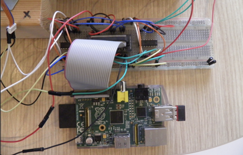 Talking about recycling old tech, an original Raspberry Pi Model B was used for the programming