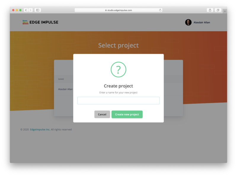 Creating a new project in Edge Impulse