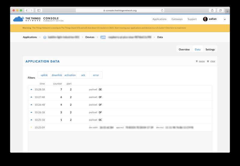 Data coming via LoRaWAN to the Things Network